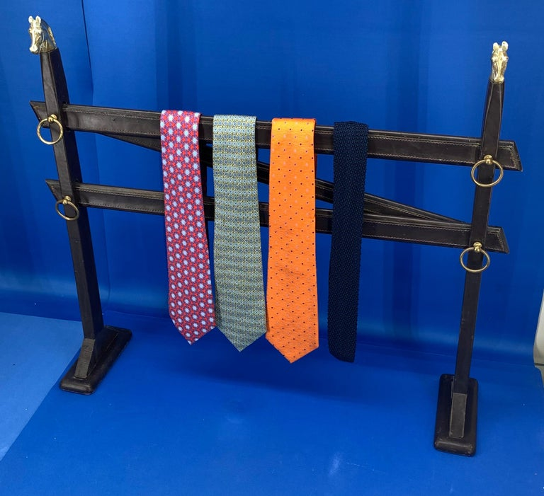 20th Century Vintage Hermès Tie Table Rack with Brass Horse Heads For Sale
