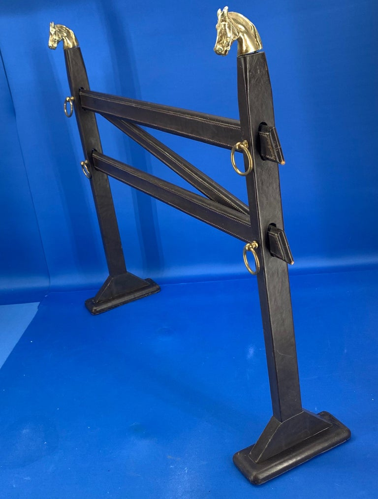 Vintage Hermès Tie Table Rack with Brass Horse Heads For Sale 1