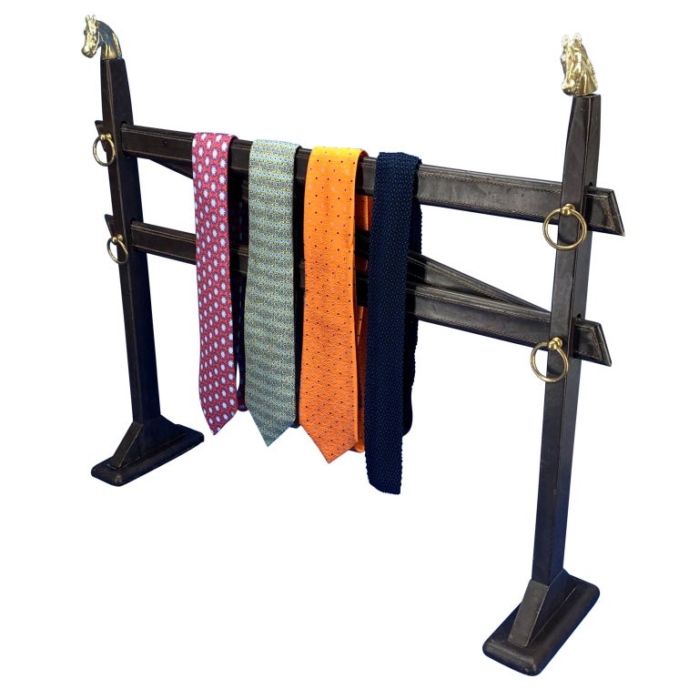Vintage Hermès Tie Table Rack with Brass Horse Heads For Sale
