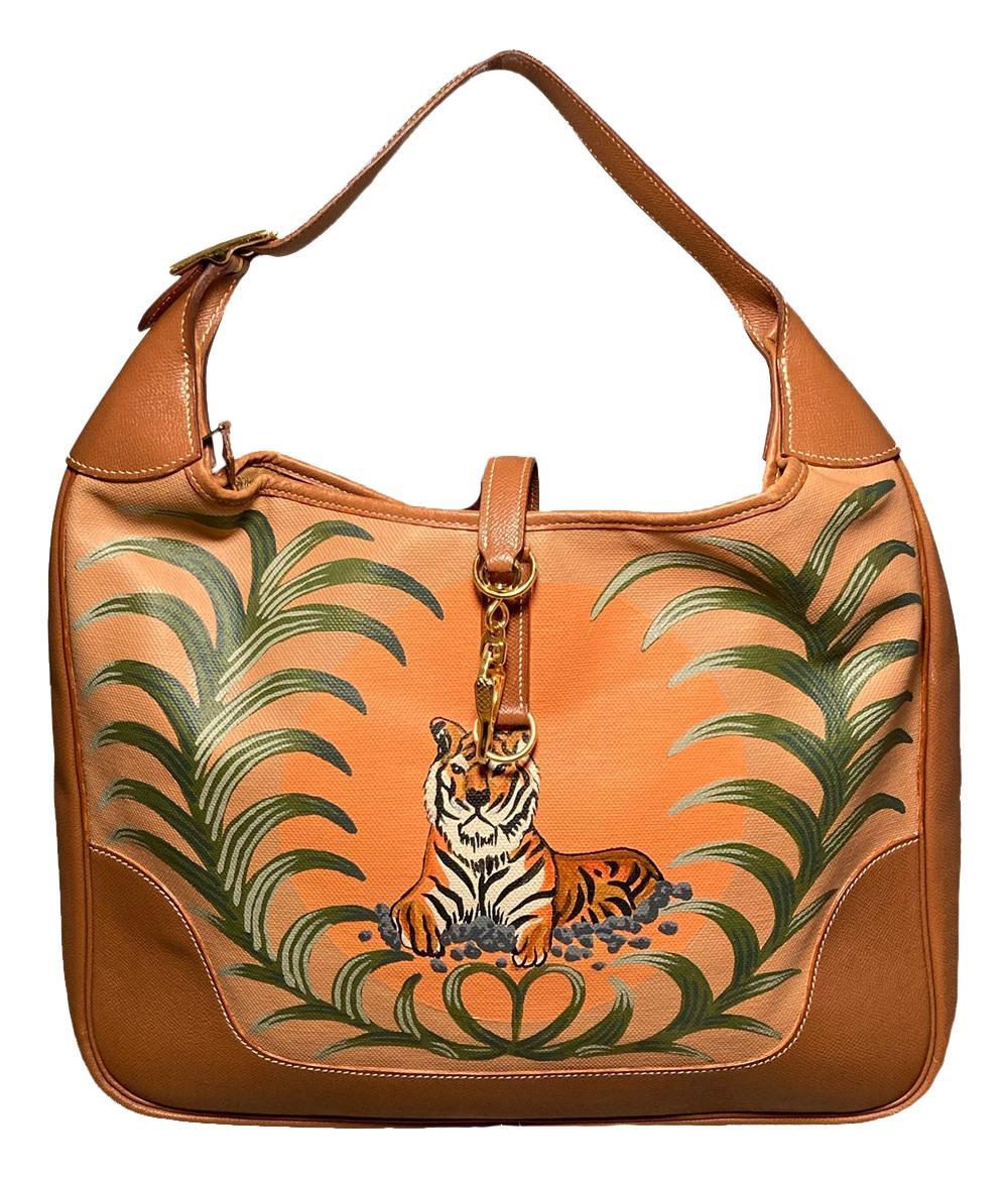 Vintage Hermes Trim Bag with Hand Painted Tiger