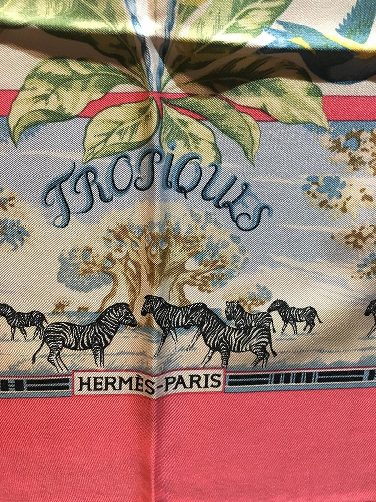 Vintage Hermes Tropiques Silk Scarf in Pink c1980s In Good Condition For Sale In Philadelphia, PA