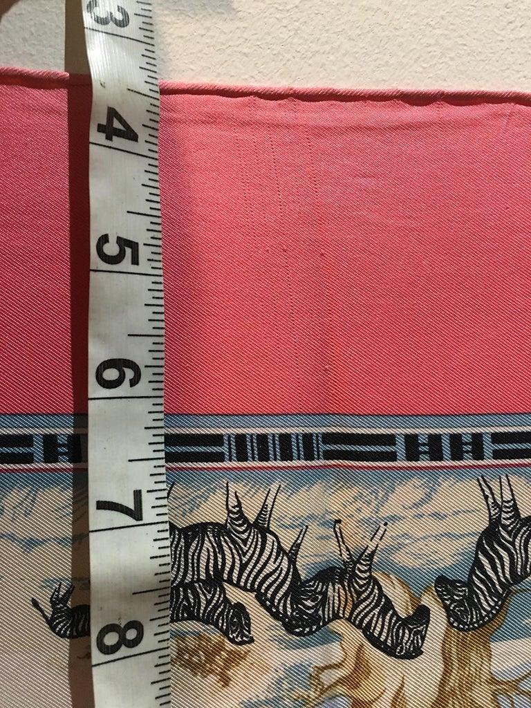 Vintage Hermes Tropiques Silk Scarf in Pink c1980s For Sale 1
