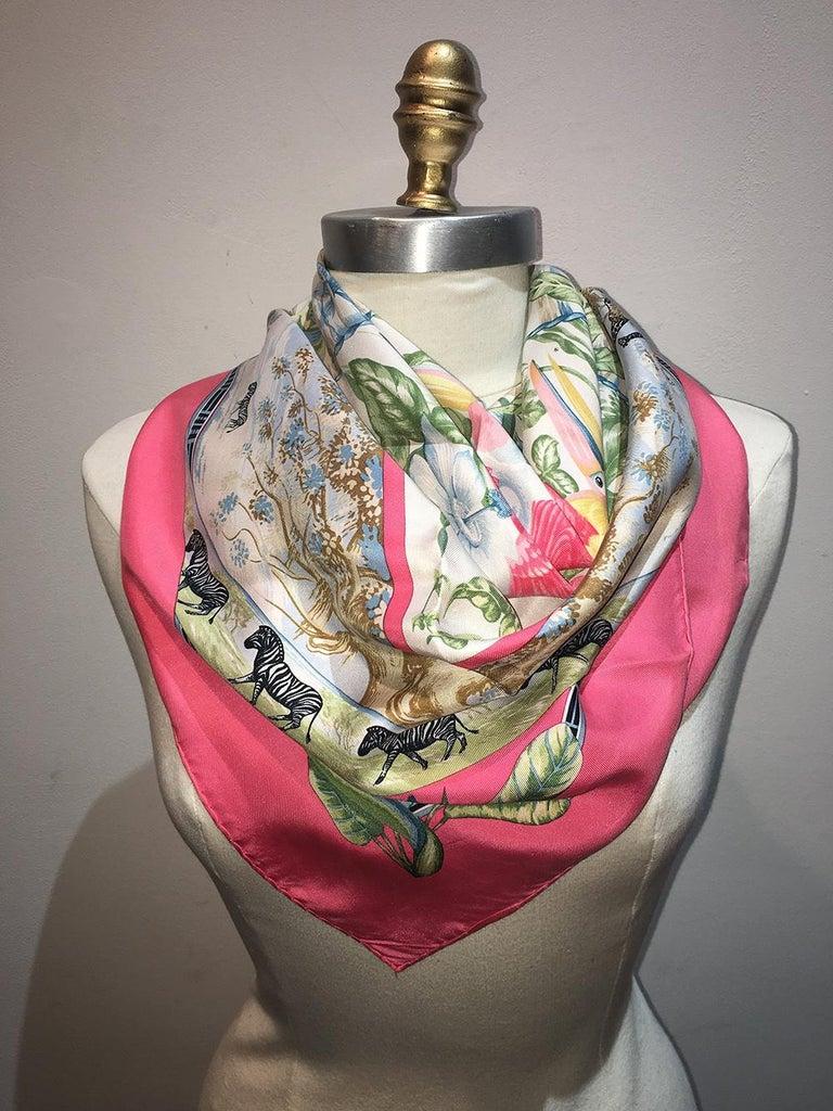 Vintage Hermes Tropiques Silk Scarf in Pink c1980s For Sale 3