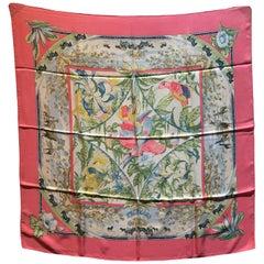 Vintage Hermes Tropiques Silk Scarf in Pink c1980s