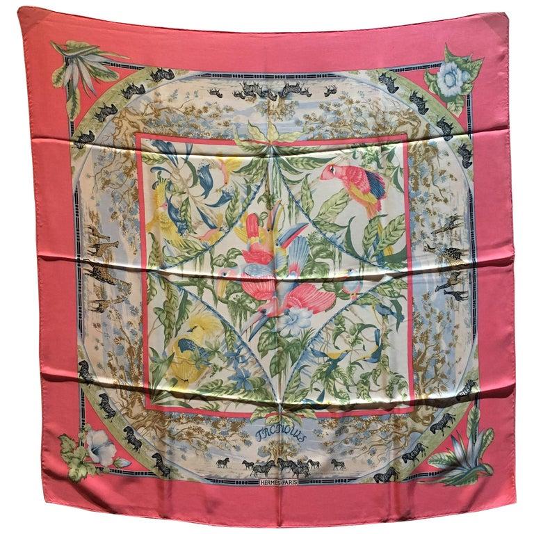 Vintage Hermes Tropiques Silk Scarf in Pink c1980s For Sale