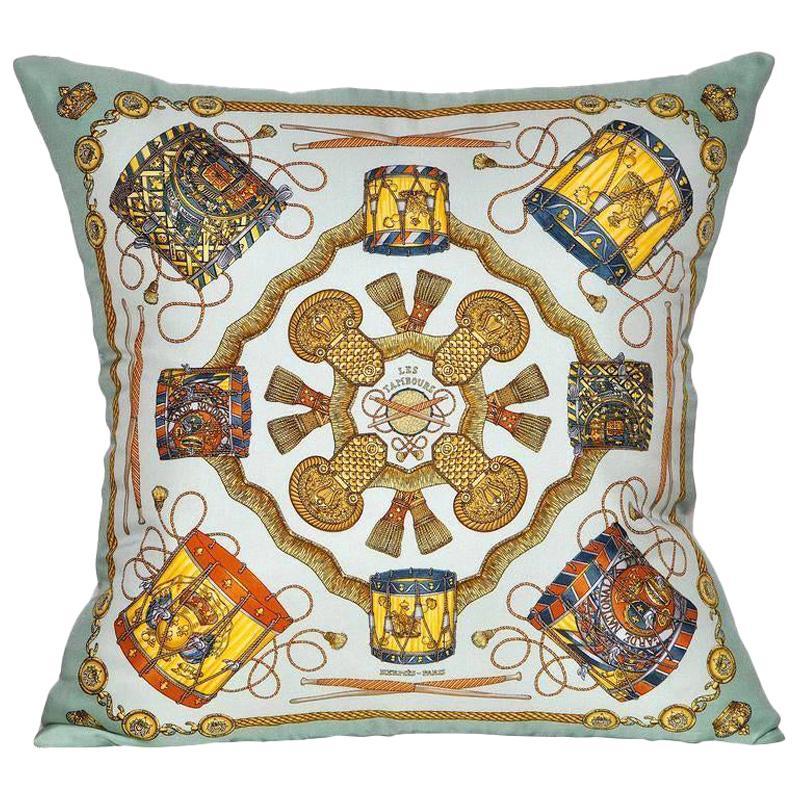Vintage Hermès Turquoise Silk Scarf and Irish Linen Cushion Pillow