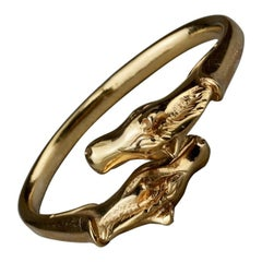 Vintage HERMES Twin Horse Head Gold Bracelet