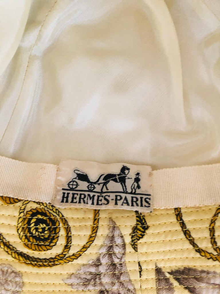 Vintage Hermes Yellow, Gold & Ivory Silk Cloche / Bucket Hat w/ Bow For Sale 12