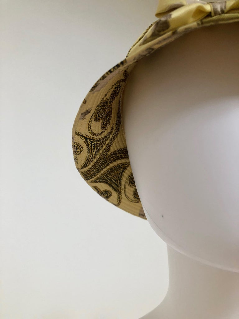 Vintage Hermes Yellow, Gold & Ivory Silk Cloche / Bucket Hat w/ Bow For Sale 3