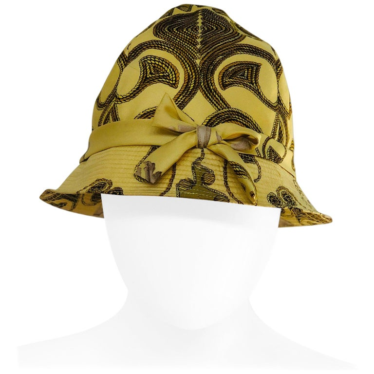 Vintage Hermes Yellow, Gold & Ivory Silk Cloche / Bucket Hat w/ Bow For Sale