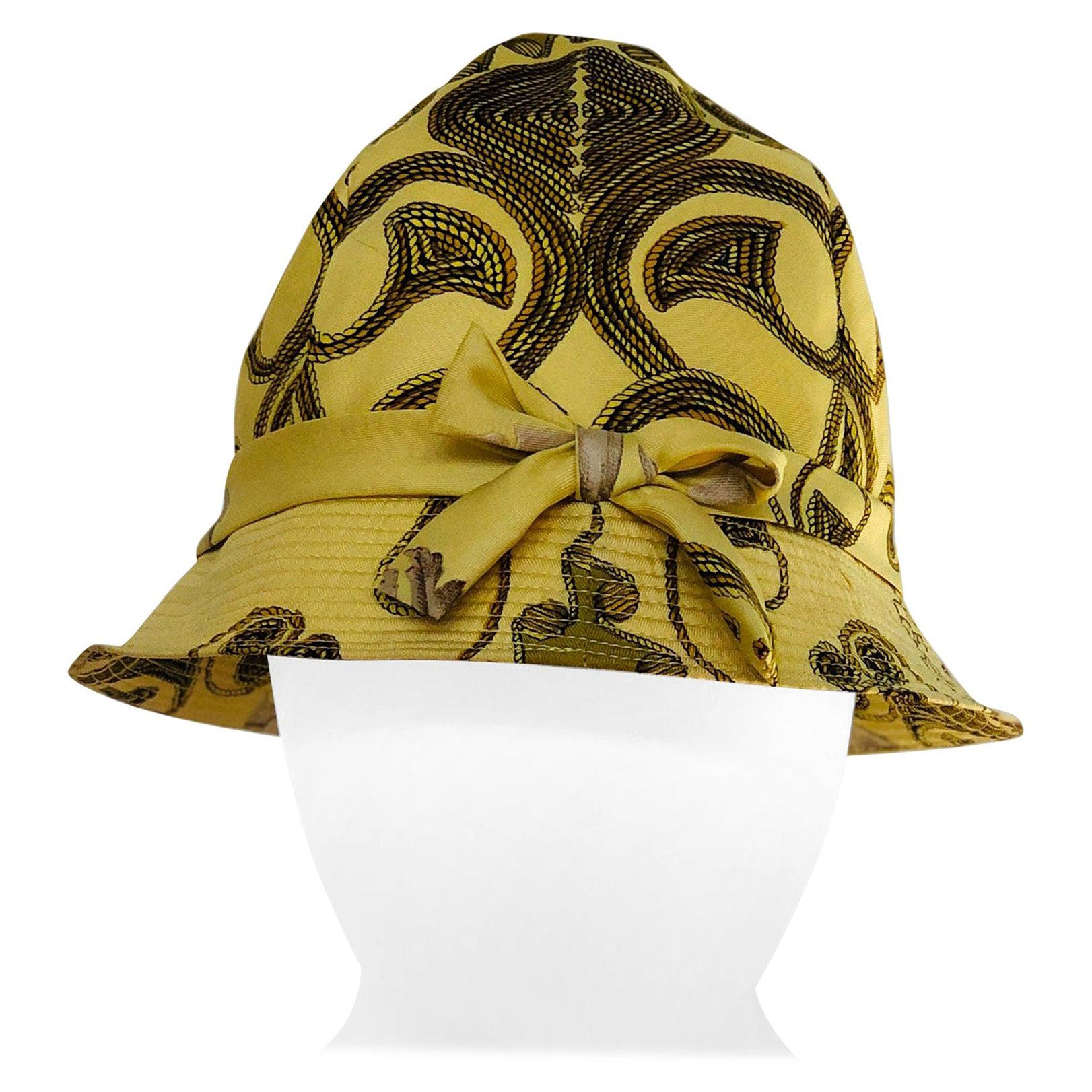 Vintage Hermes Yellow, Gold & Ivory Silk Cloche / Bucket Hat w/ Bow