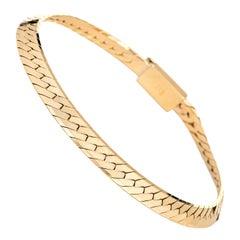 Vintage Herringbone Bracelet Wide 14 Karat Yellow Gold Italy Estate Fine Jewelry