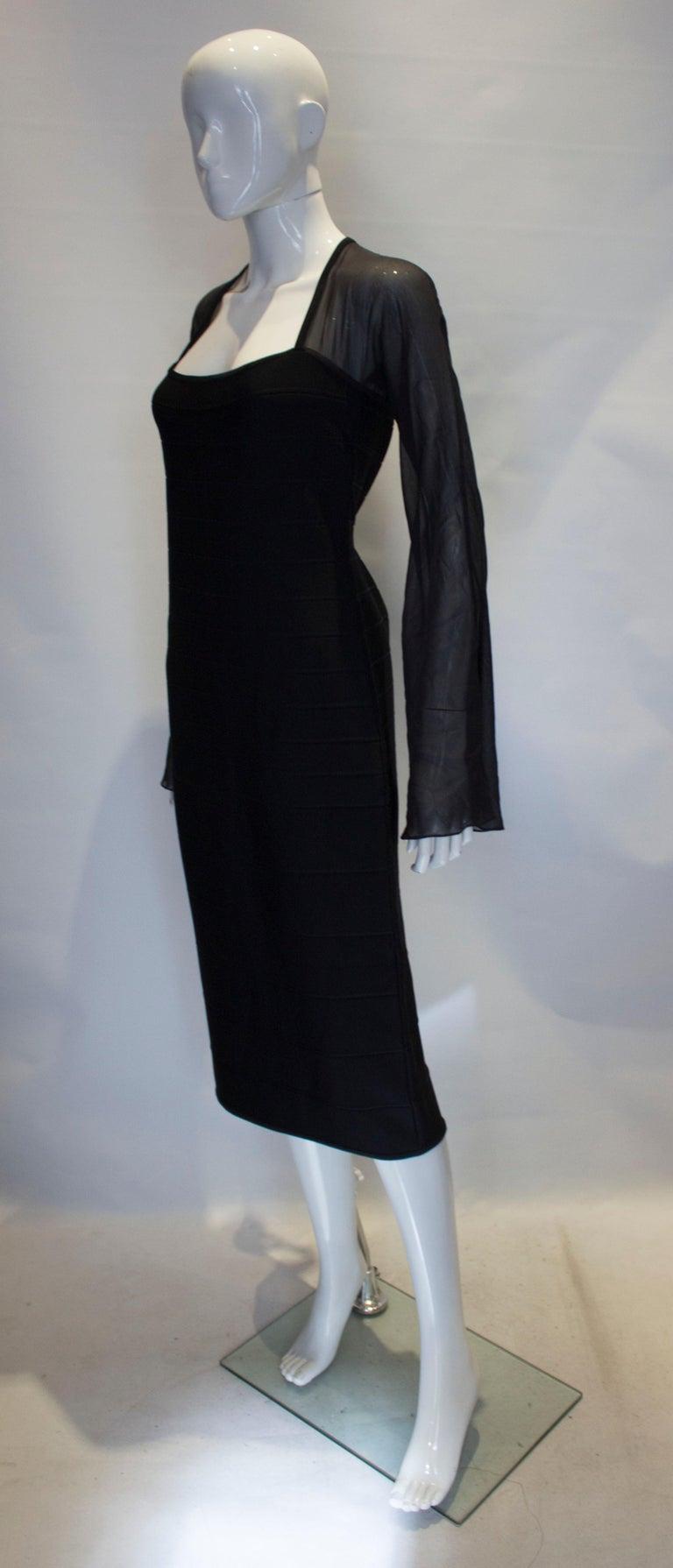 Black Vintage Herve Leger Evening Dress For Sale