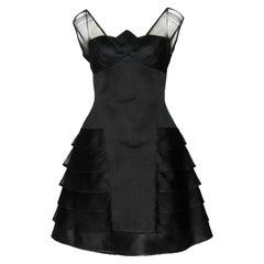 Vintage Herve Leger Paris Black Flared Skirt Tulle/Mesh Dress Size 14 US