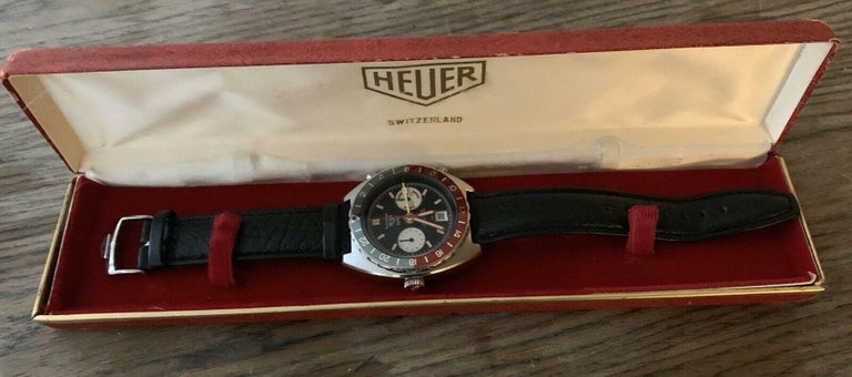 Vintage Heuer Autavia GMT 11630 Automatic Chronograph Watch with Box For Sale 3