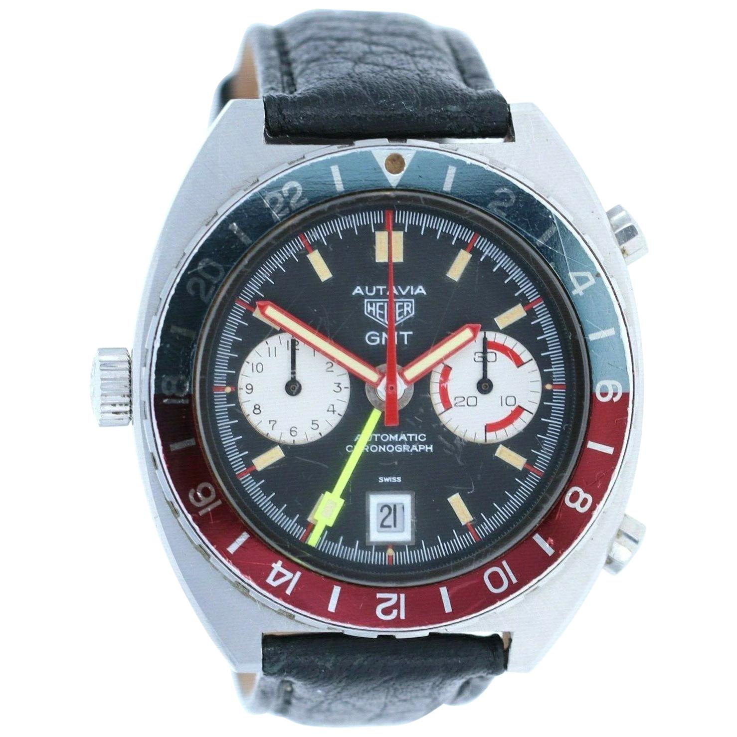Vintage Heuer Autavia GMT 11630 Automatic Chronograph Watch with Box