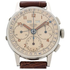 Vintage Heuer Triple Date Chronograph Stainless Steel Watch, 1940s