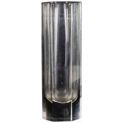 Vintage Hexagonal Glass Vase, Italy, 1970s