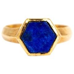 Vintage Hexagonal Lapis Lazuli and 9 Carat Gold Signet