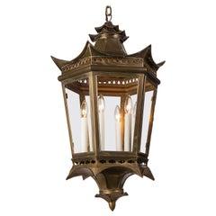Vintage Hexagonal Pagoda Form Brass Lantern, circa 1940