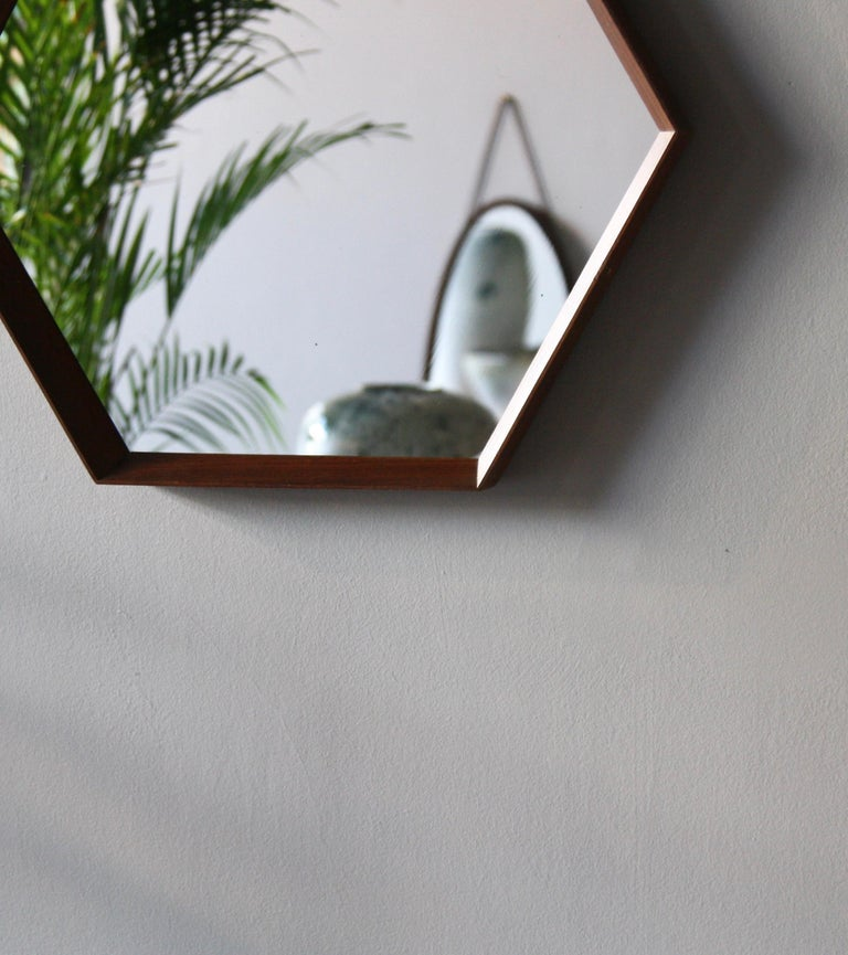 Vintage Hexagonal Teak Wall Mirror with String Hanging Strap Made in Denmark For Sale 4