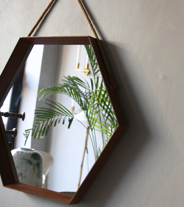 Vintage Hexagonal Teak Wall Mirror with String Hanging Strap Made in Denmark For Sale 5