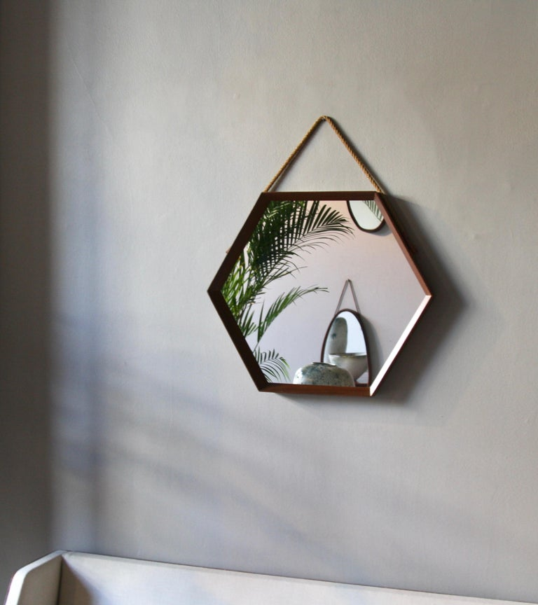Vintage Hexagonal Teak Wall Mirror with String Hanging Strap Made in Denmark For Sale 6
