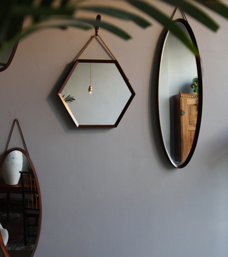 Mid-Century Modern Vintage Hexagonal Teak Wall Mirror with String Hanging Strap Made in Denmark For Sale