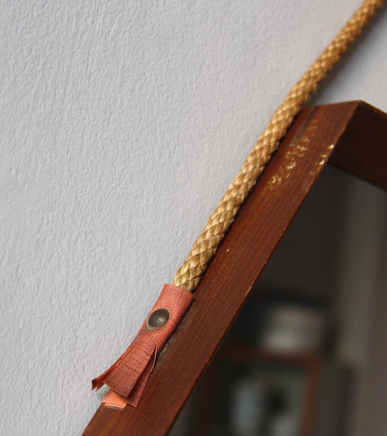 Danish Vintage Hexagonal Teak Wall Mirror with String Hanging Strap Made in Denmark For Sale