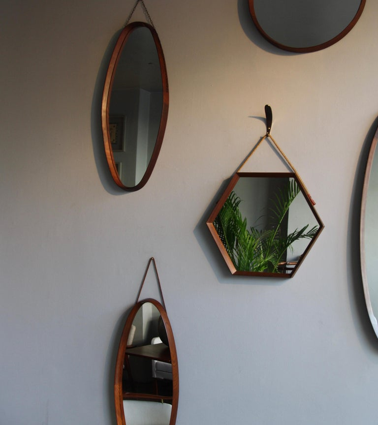 20th Century Vintage Hexagonal Teak Wall Mirror with String Hanging Strap Made in Denmark For Sale