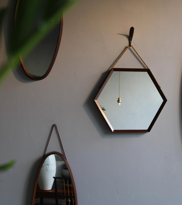 Vintage Hexagonal Teak Wall Mirror with String Hanging Strap Made in Denmark For Sale 1