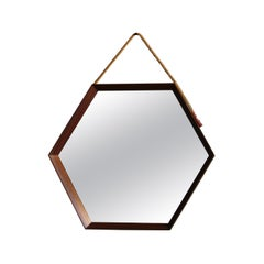 Vintage Hexagonal Teak Wall Mirror with String Hanging Strap Made in Denmark