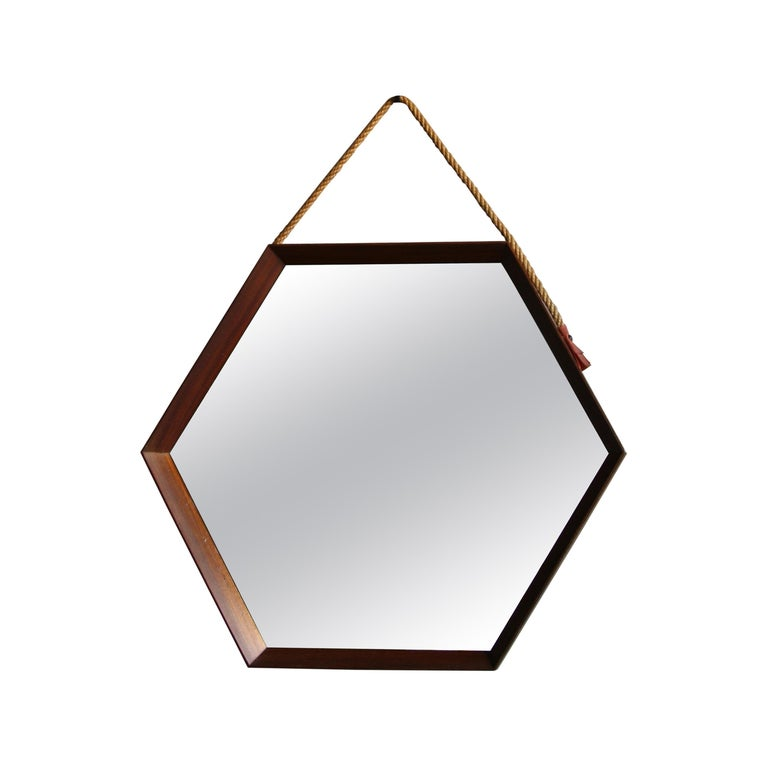 Vintage Hexagonal Teak Wall Mirror with String Hanging Strap Made in Denmark For Sale
