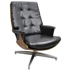 Vintage Heywood Wakefield Teak and Black Vinyl Swivel Tilt Lounge Armchair