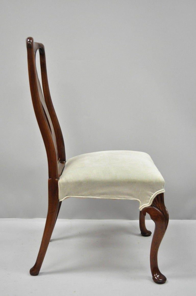 20th Century Vintage Hickory Chair Company Queen Anne Style Mahogany Dining Chairs Set of 4