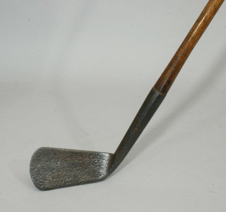 British Vintage Hickory Shafted Golf Club, Large Smooth Face Iron For Sale