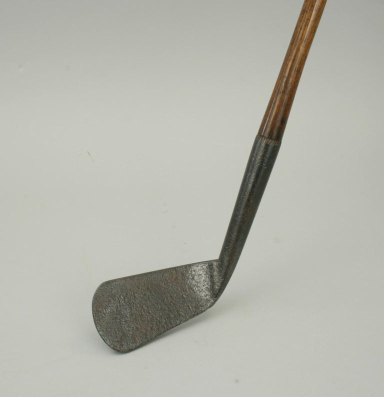 Vintage Hickory Shafted Golf Club, Large Smooth Face Iron For Sale 2