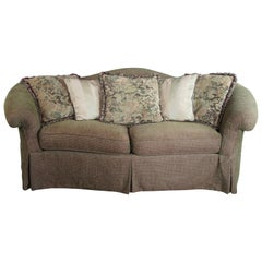 Vintage Hickory White Serpentine Camel Back Traditional Rolled Arm Sofa