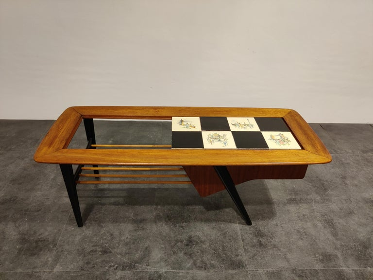 Mid-Century Modern Vintage Hidden Bar Coffee Table by Alfred Hendrickx for Belfom, 1950s For Sale
