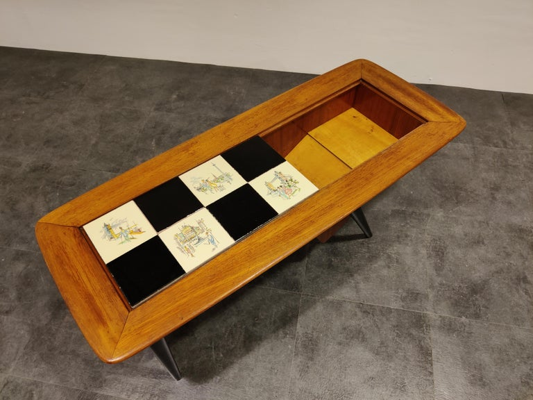Mid-20th Century Vintage Hidden Bar Coffee Table by Alfred Hendrickx for Belfom, 1950s For Sale