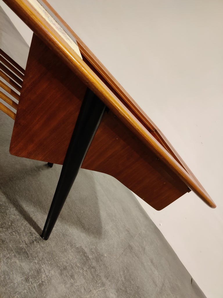 Vintage Hidden Bar Coffee Table by Alfred Hendrickx for Belfom, 1950s For Sale 2