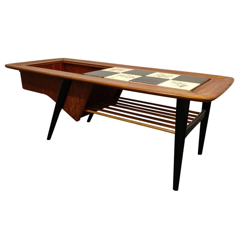 Vintage Hidden Bar Coffee Table by Alfred Hendrickx for Belfom, 1950s For Sale