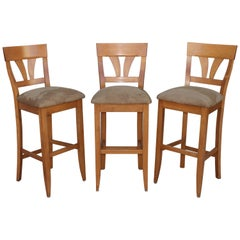 Vintage High Back Bar Stools With Suede Seats