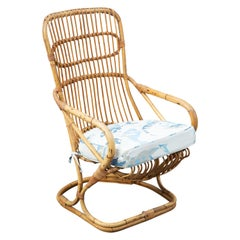 Vintage High Back Cane Armchair with Cushion