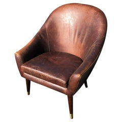 Vintage High Back Leather Club Chair
