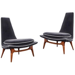 Vintage High Back Lounge Chairs by Karpen