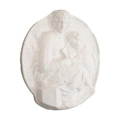 Plaster Cast Bas-Relief Portrait Pitti Tondo, Virgin and Child by Michelangelo