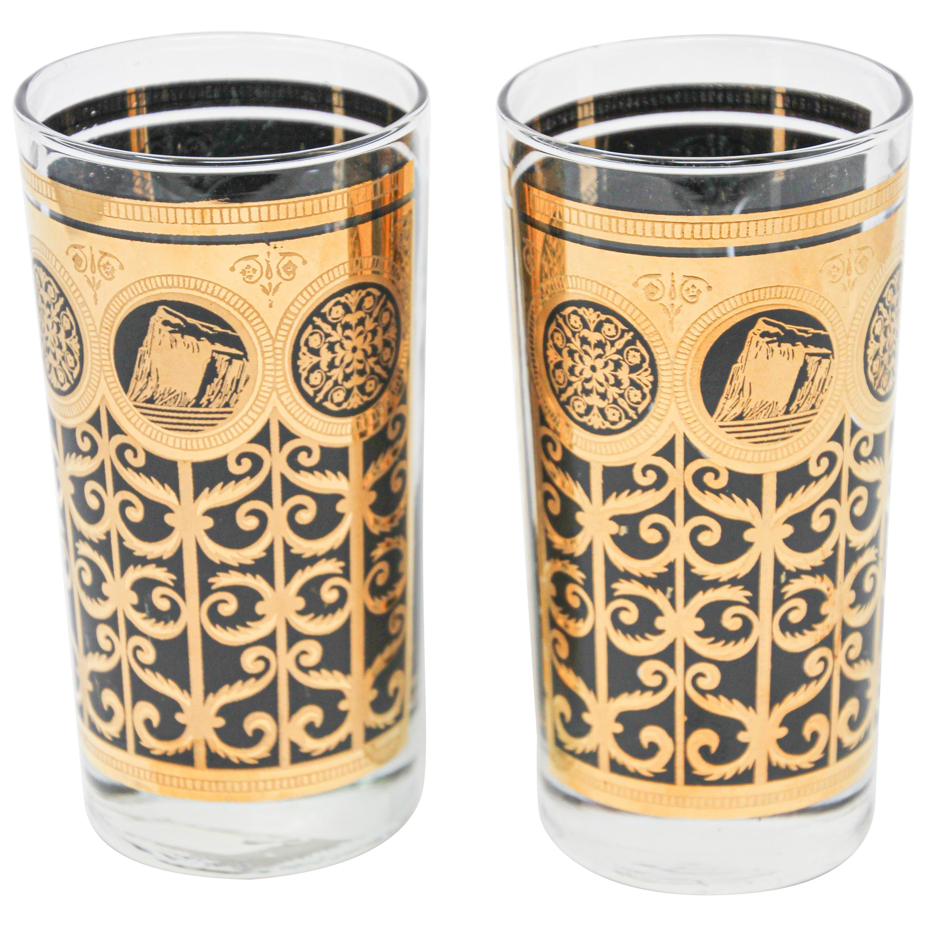 Vintage Highball Black and Gold Glasses by Fred Press