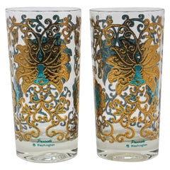 Vintage Highball Glasses Blue and Gold
