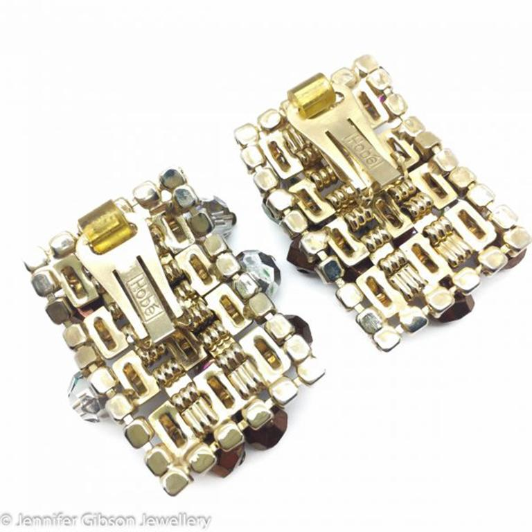 Vintage Hobe Crystal Cascade Clip Earrings 1950S In Excellent Condition For Sale In Wilmslow, GB
